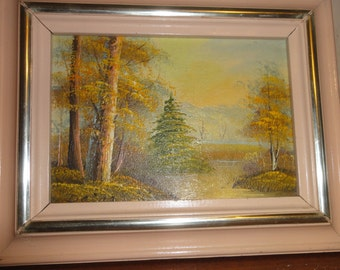 Small Vintage Oil on Wood/Trees/ Signed Daina