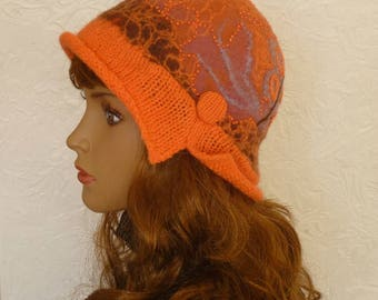 Felt hat, Felt Cloche, Hat orange, Brown Hat, Terracotta Hat