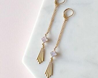 Art Deco Fan Earrings - Opal Pink Earrings - Geometric - Long Earrings - Scorsese Earrings (SD1312)