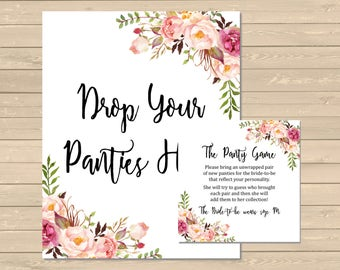 boho floral printable panty game boho bridal shower panty game pink floral bachelorette party game panty game diy instant download 110 w