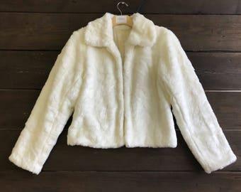 Vintage 80s Faux Fur Crop Coat