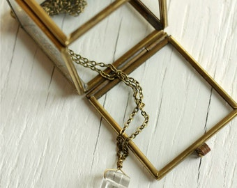 Quarz Anhänger Halskette für Office Mode auf Stahlkette