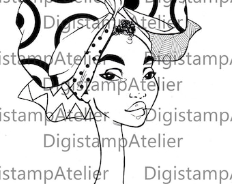 African Headwrap 2. INSTANT DOWNLOAD Digital Digi Stamps.