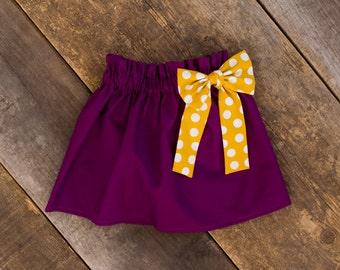 Plum Mustard Polka Dot Bow Skirt - Baby Girl