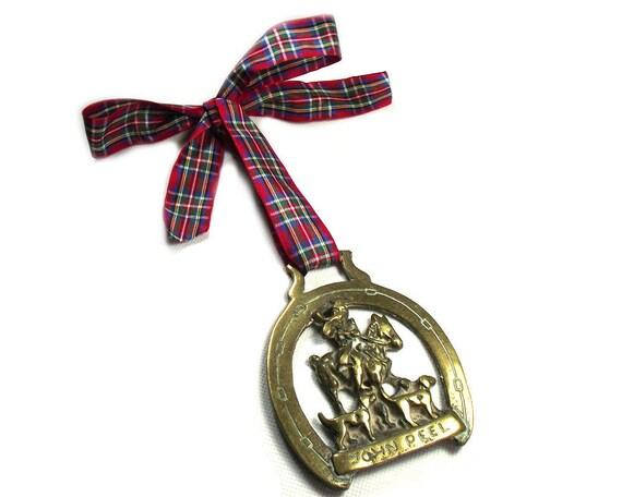 Vintage John Peel Horse Brass Christmas Ornament on a Red Tartan Ribbon