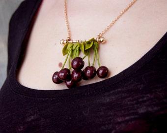 Red Cherry Necklace, Cherry pendant, Fruit Jewelry, Cherry jewelry, Cherry style, Mom gift, Green leaf cherry, Young living necklace, Cherry