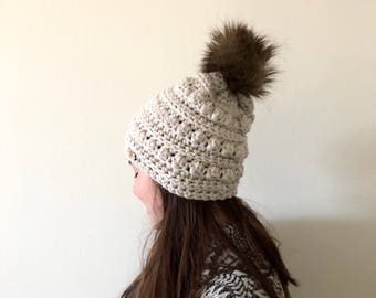Linen slouchy winter hat with faux fur pom | winter hat | bobble beanie | womens beanie | mommy and me | winter beanie | winter hat |