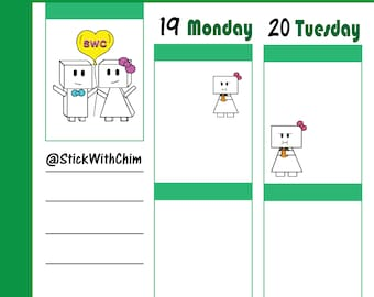 Bow Robot Girl Hangry Eating Burger   Cute Planner Stickers   Perfect for planners and calendars   R2021