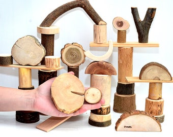 Wooden toy, 40 natural wood building tree blocks, Wooden blocks, Wood personalized organic toy, Montessori and Waldorf inspired wood toys