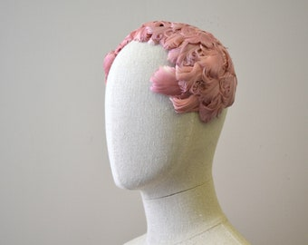 1950s Pink Feather Headband Hat
