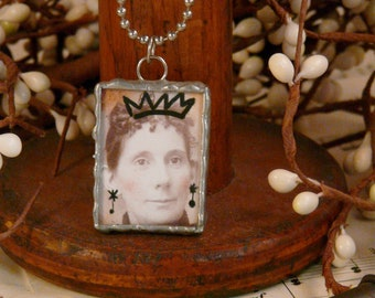 Born to Party soldered pendant necklace - Crown woman girl artwork art jewelry fun saying unique silvergleem