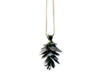 Pinecone Necklace Silver Pendant Charm