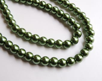 Olive green glass pearl beads round 8mm full strand 9873GL
