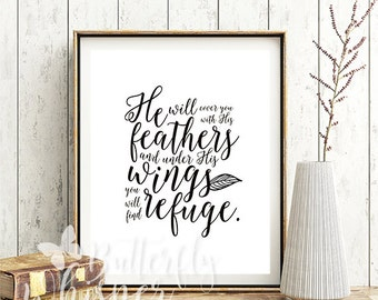 Printable Christian wall art, Bible verse print decor, Psalm 91:4, Bible verse wall art, Bible verse print, Bible quote , DIGITAL DOWNLOAD