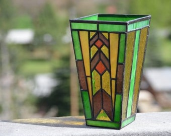 Mission style stained glass vase
