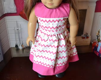 18 inch Doll Clothes - Pretty Dress - Pink Chevrons - fits American Girl