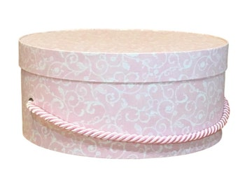 Hat Box in Pink Scroll, Ready to ship! Round Box, Cottage Decor, Fabric Covered Box, Box with Lid, Fascinator Hat Box
