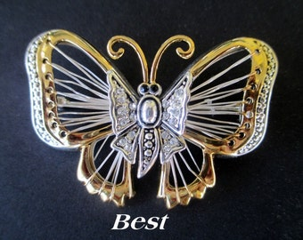 Butterfly Pin Or Pendant * Silver And Gold Tone * Rhinestones * Signed BEST * Vintage Classic Gift For Lady