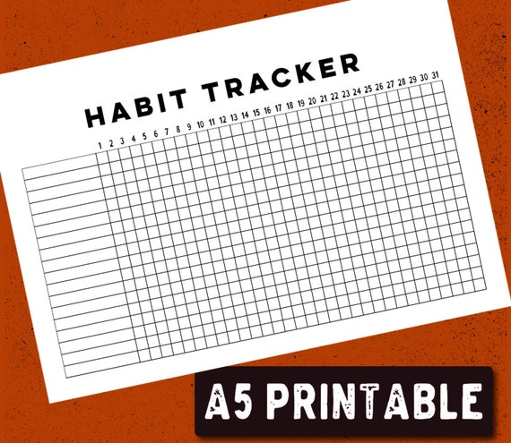 printable bullet journal habit tracker a5