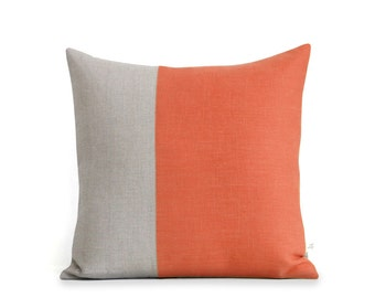 Minimal Linen Pillow Cover in Orange and Natural Linen (18x18) by JillianReneDecor, Modern Home Decor, Two Tone Color Block Pillow