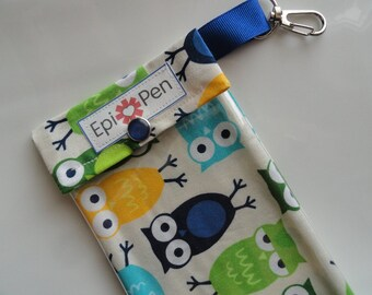 Epi Pen Carrier with Clear Pocket and Clip 4x8 Holds 2 Allergy Injector Pens - Urban Zoologie Owls in Blue Fabric