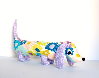 Stuffed Wiener Dog, Wiener Dog Plush, Softie for Kids, Unique Kids Gift,  Dachshund, Sausage Dog VIOLET