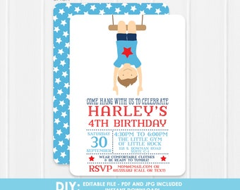 DIY Gymnastics Invitation -  Printable Gymnastics Invitation - Boy Gymnastics - Editable the file at home - Print or email however you want