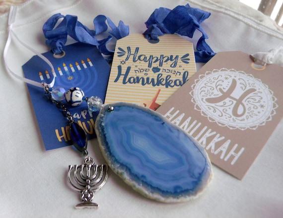 Hanukkah gift - Deep blue geode slice - menorah charm - Jewish holiday gift - agate pendant - Judaic charms - Sun catcher -Window decor