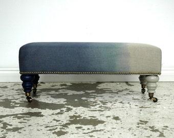 Navy DipDye Ottoman bench