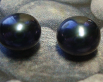 Vintage Designer Signed Honora Sterling Silver 925 8-9mm Button Pearl Navy Blue Post Earrings ID HON20164
