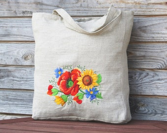 Linen Tote Bag, Embroidered Bag, Natural linen Shopping Bag, Large size, Grocery Reusable Bag, Eco-friendly, Natural Beach Tote Bag