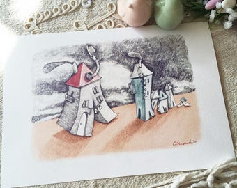 """Walking houses - Watercolour illustration, from the """"Little houses"""" series, by Elisa Ansuini"""