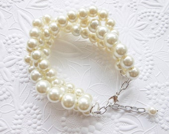 Ivory Pearl Braided Bracelet, Chunky Statement Pearl Bracelet, Bridal Bracelet