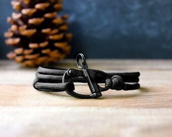The Adventure Bracelet (Black Paracord) - paracord bracelet for men - parachute cord bracelet - skydive paracord shackle