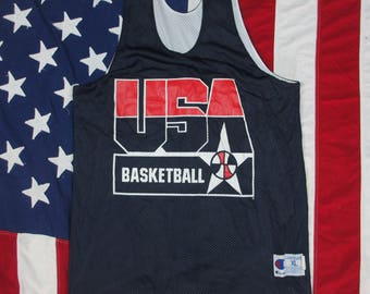 Vintage 1990's USA Olympic Basketball Dream Team Jersey XL Champion #5 David Robinson San Antonio Spurs 1992 White Blue America Barcelona