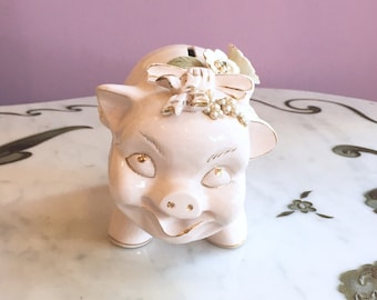 Vintage 50s Ceramic Piggy Bank with Flowers Pearls Rhinestones Hand Painted Lefton Pink Green Gold made in Japan