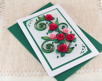 Mom Birthday Card - Handmade Quilling Greeting Card - Mum Bday Card to her - Handmade Paper Quilling with Red Quilled Roses