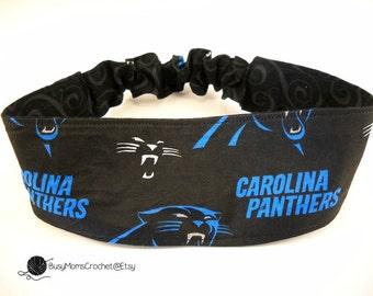 Handmade Carolina Panthers football reversible headband, women's fabric headband, handmade, elastic headband, Panthers headband