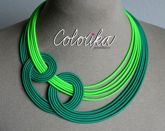 Neon fabric necklace, Green neon necklace, Knotted green necklace, Statement rope necklace, Unique fun necklace, Chunky colourful necklace