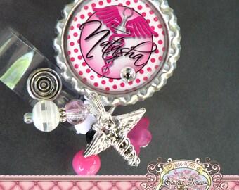 NURSE Personalized Id Badge Reel, Medical Symbol, Caduceus Charm, PHLEBOTOMIST, RN Np Nursing, Id Clip, Bottle cap, Doctor Medical, Syringe