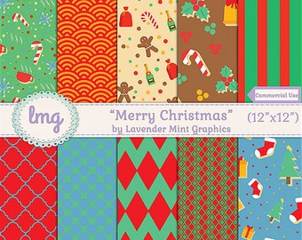 Christmas Digital Scrapbook Paper Pack - Merry Christmas - Peppermint, Trees, Gingerbread, Candy, Holly, Chevron, Instant Download, CU