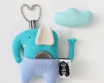 Soft Knit Earphone Case, Cute Elephant Plushie, Birthday Small gifts, Animal Earphone Pouch, Elephant toy, Elephant doll, Earphone holder.