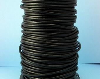 Greek Leather Cord, Black, 2 MM, 12-feet  M87
