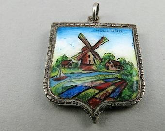 Vintage Sterling Pendant Enamel Silver Pendant Dutch Windmill Scene Vintage Jewellery