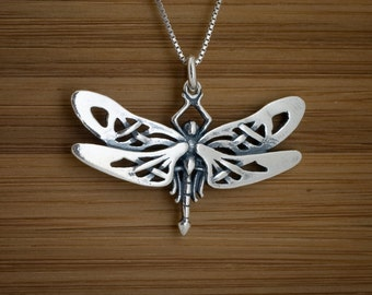 STERLING SILVER Celtic Dragonfly My ORIGINAL Pendant Necklace or Earrings - Chain Optional