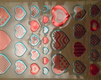 Metallic heart stickers