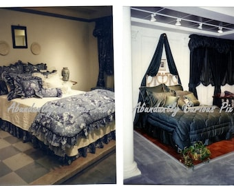 Someone's been sleeping in my bed, 6 vintage showroom snapshots, bedroom, bed, bedspreads, interior decorating