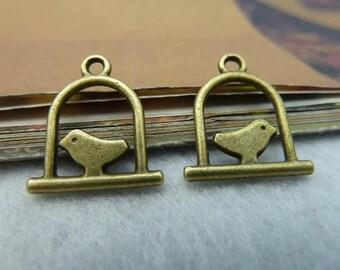 30pcs 15x17mm The Birdcage  Antique Bronze Retro Pendant Charm For Jewelry Bracelet Necklace Charms Pendants C2428
