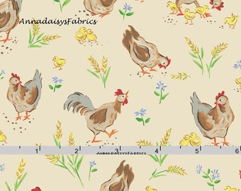 Baby Chick & Chickens Fabric,  Farm Quilt Fabric, Red Rooster Fabrics Country Days 26618, Heidi Boyd, Chicken Quilt Fabric, Cotton
