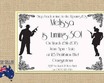 Roaring 20s Printable Invitation - Great Gatsby Party - Twenties - Prohibition - Speakeasy - Gangsters and Molls - Al Capone